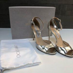 Jimmy Choo Annie 100 Silver Metallic Leather Heel